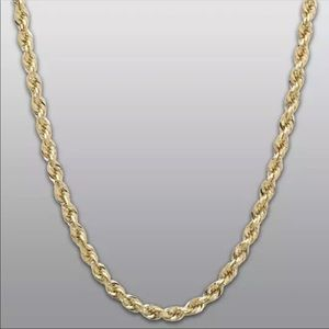 """18K Heavy Gold Rope Chain Stainless Steel 6MM 24"""""""